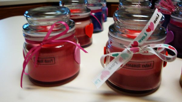 Valentines Day jar candles