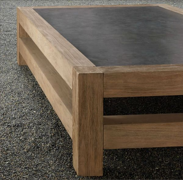 Wooden coffee table with concrete tabletop 2 decoist for Concrete coffee table