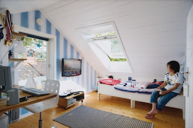 Attic teenage boys room decoist for Cool attic room ideas