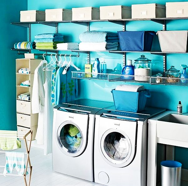 blue laundry room design