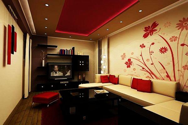 floral shapes living room walls