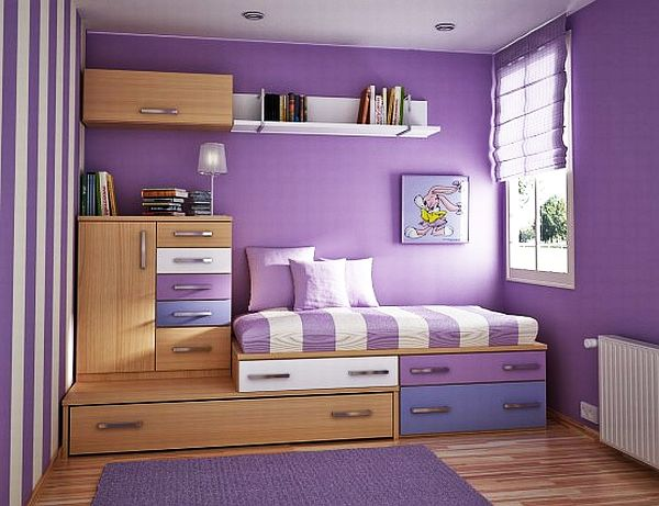 purple inspired teen girls bedroom design