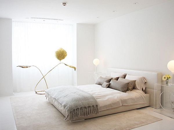Inspirational white rooms interiors by kelly behun - Bedroom with mattress on the floor ...