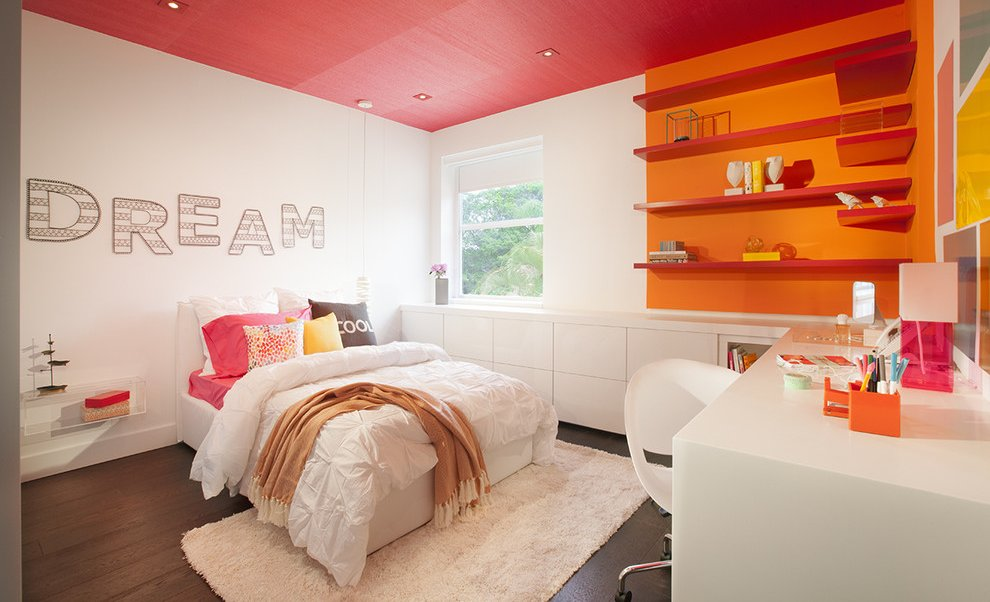 view in gallery modern teenage girl room design - Orange Bedroom 2016