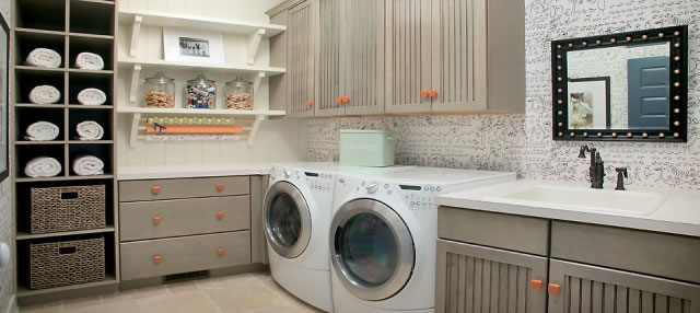 orange accents laundry room