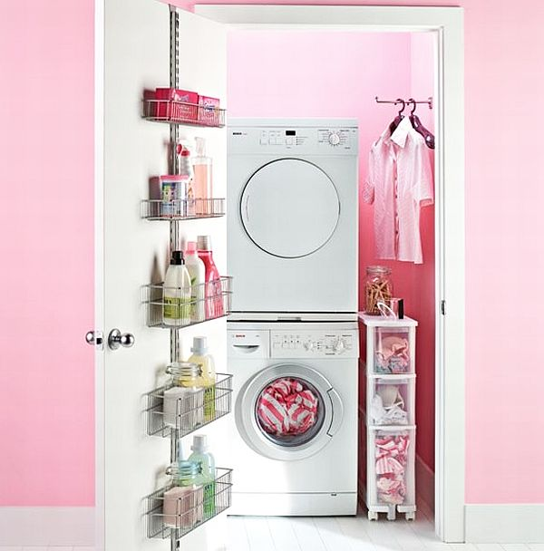 pink laundry room design