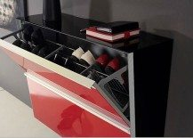 red stylish shoe cabinet