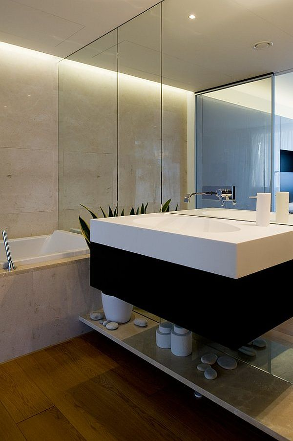 Moscow contemporary apartment sports elegance for Sleek bathroom design