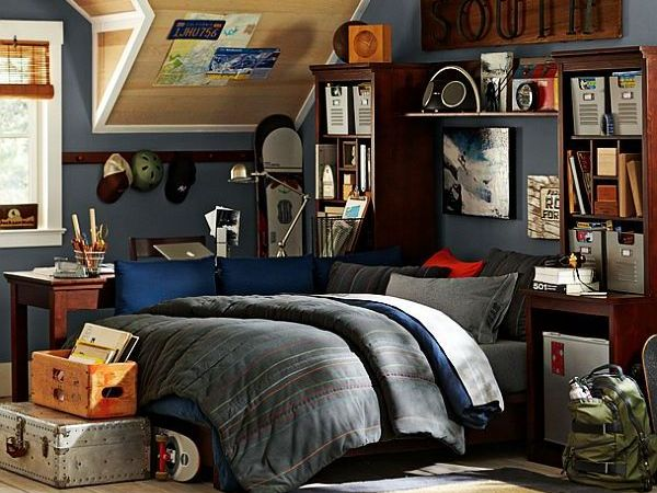 Bedroom For Teenager a big room can still be cozy with a warm color scheme of forest green and Sports Inspired Teenage Boys Bedroom