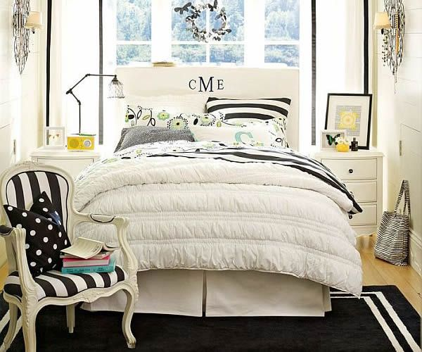 young girls bedroom design with white and blue bedding inspiring