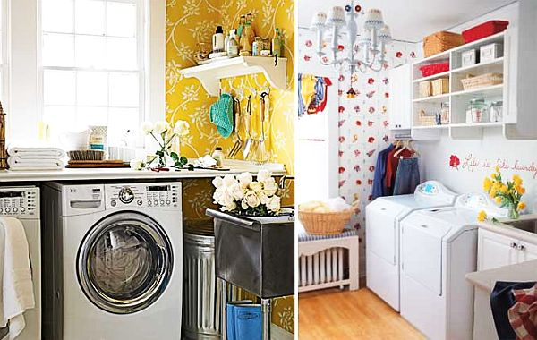 wallpaper laundry room desgin idea