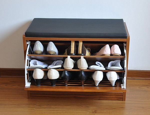 wooden stool shoe cabinet