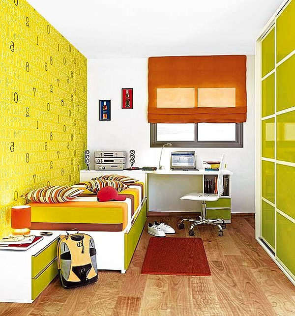 Yellow green teenager boys bedroom