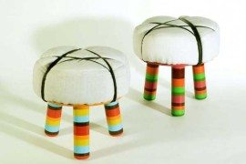 Comfortable and colorful stools expressing immigrant lifestyle