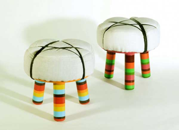 Axum and Lalibella Stools by David Keller Comfortable and colorful stools expressing immigrant lifestyle