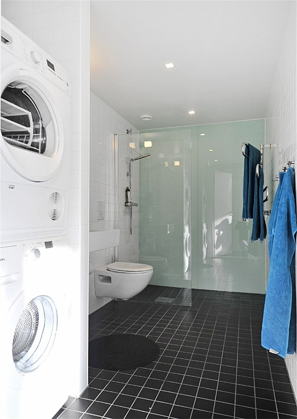 Black-White-Contemporary-Loft-bathroom-with-washer-and-dryer Hat Design House Stockholm on niue houses, rotterdam houses, tampa houses, belfast houses, oslo houses, jakarta houses, birmingham uk houses, la paz houses, medellin houses, seoul houses, havana houses, pago pago houses, sharjah houses, shanghai houses, macau houses, amman houses, paris houses, tomsk houses, apia houses, ciudad de mexico houses,