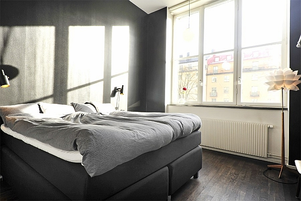 Black & White Contemporary Loft comfy bedroom
