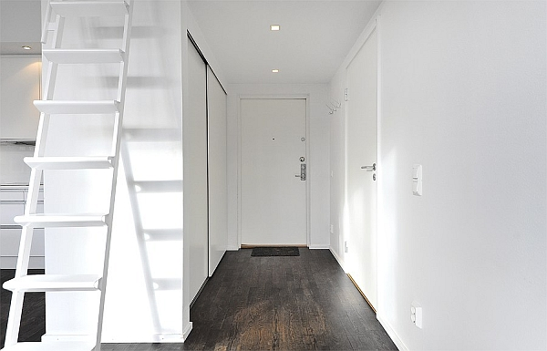 Black & White Contemporary Loft entrance with white walls and wardrobe
