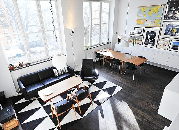 Black White Contemporary Loft living area Black & White Contemporary Loft in Stockholm, Sweden