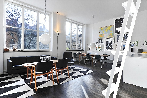 Black White Contemporary Loft living dining room Black & White Contemporary Loft in Stockholm, Sweden