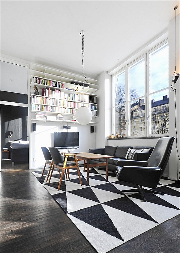 Black & White Contemporary Loft living room with view to bedroom