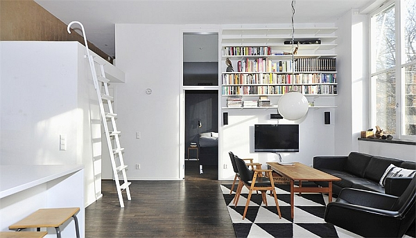 Black & White Contemporary Loft living room