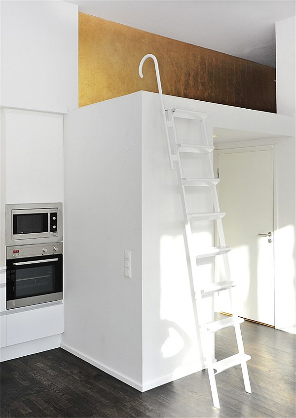 Black & White Contemporary Loft upper bedroom ladder