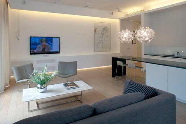 contemporary eko park apartment interior open space. Black Bedroom Furniture Sets. Home Design Ideas