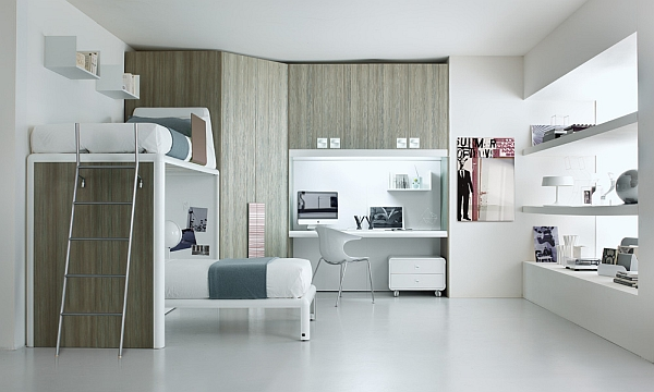 Contemporary shared bedroom for teenagers