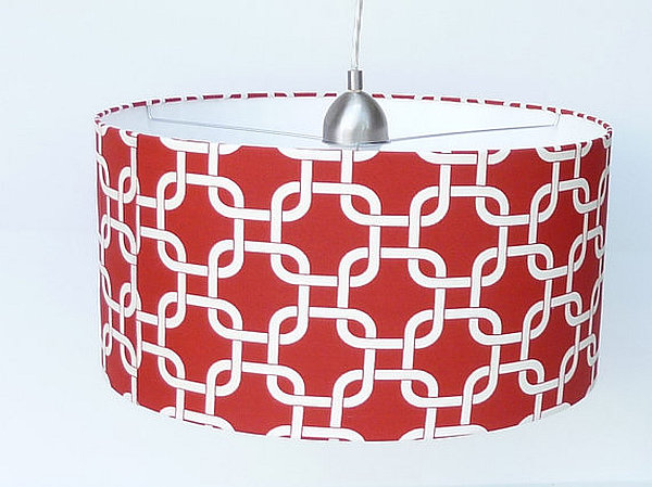 DIY customized lampshade with geometric linen fabric