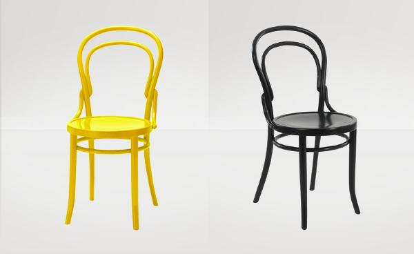 Edgar Bentwood Chairs in Yellow and Black