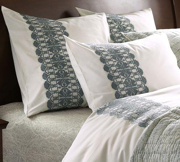 Embroidered Stripe Duvet Cover & Sham – Porcelain Blue