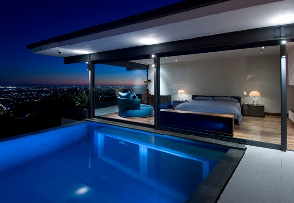 Bedroom with pool inside interior decorating las vegas Bedroom swimming pool design