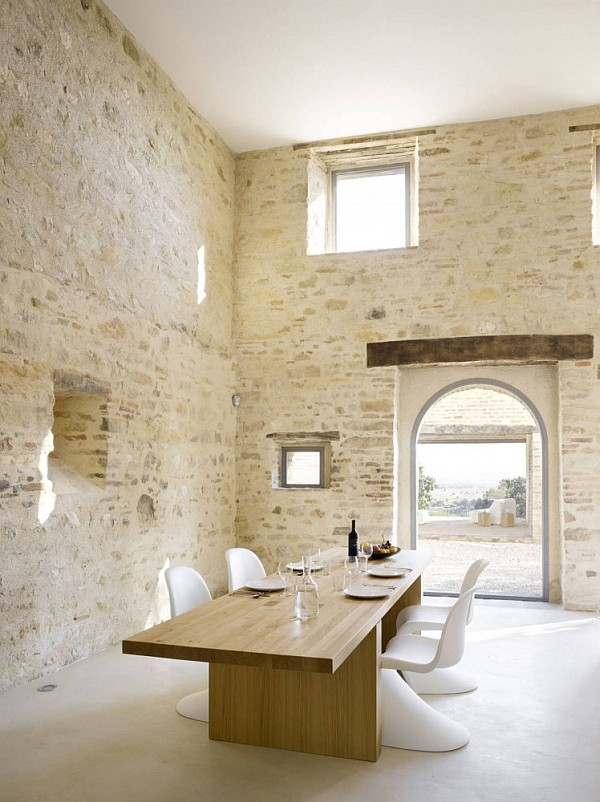 Italian House Renovation concrete stone dining room Renovated House in Treia has All Charm Kept Intact