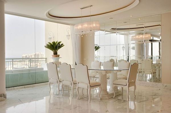 Luxury penthouse dining room table and chairs