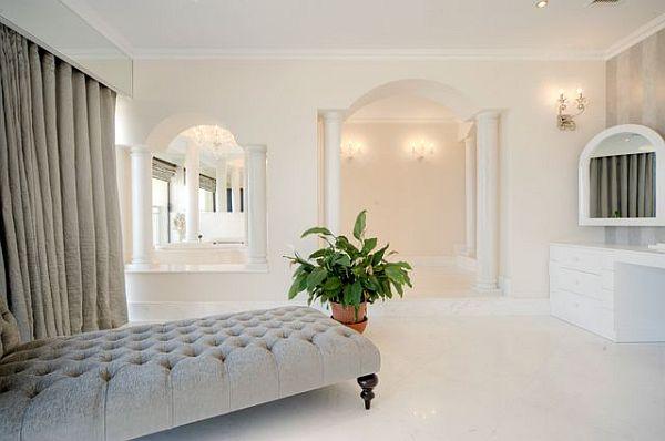 Luxury penthouse white bedroom lounge