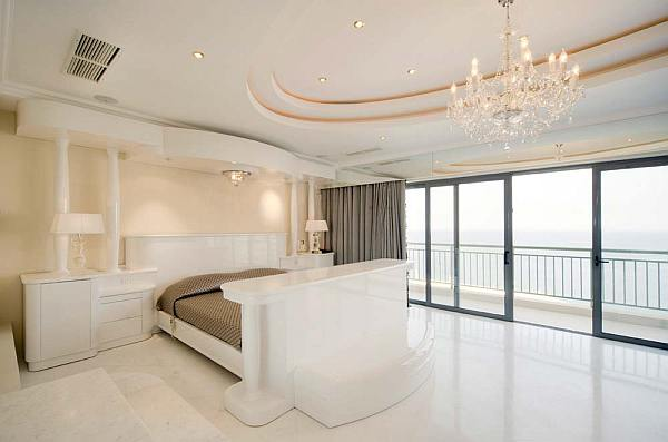 Luxury penthouse white bedroom with marble