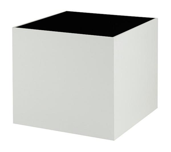 Mot White Lacquer-Black Glass Side Table