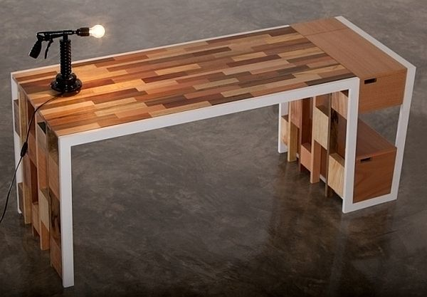 Recycled wooden furniture office desk sideboard for Reclaimed wood table designs