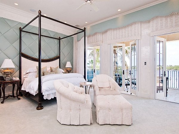 Palm Beach Mansion bedroom with fabric clad wall