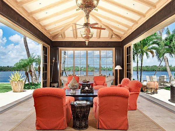 Palm Beach Mansion covered eating area