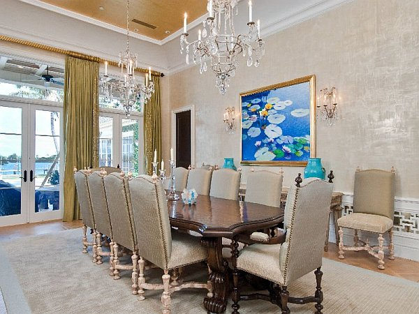 Luxury palm beach mansion selling for an extravagant 38m for Beach dining room ideas