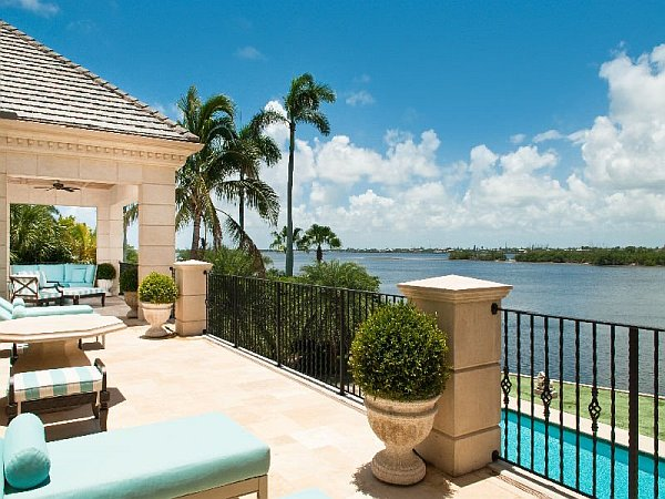 Palm Beach Mansion outdoor terrace with ocean views
