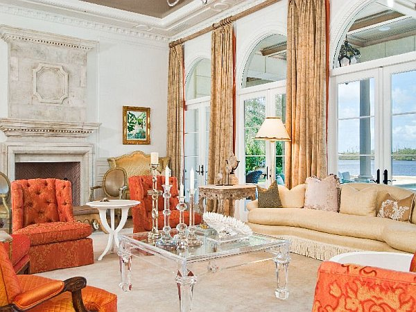 Palm Beach Mansion room with floor-to-ceiling windows