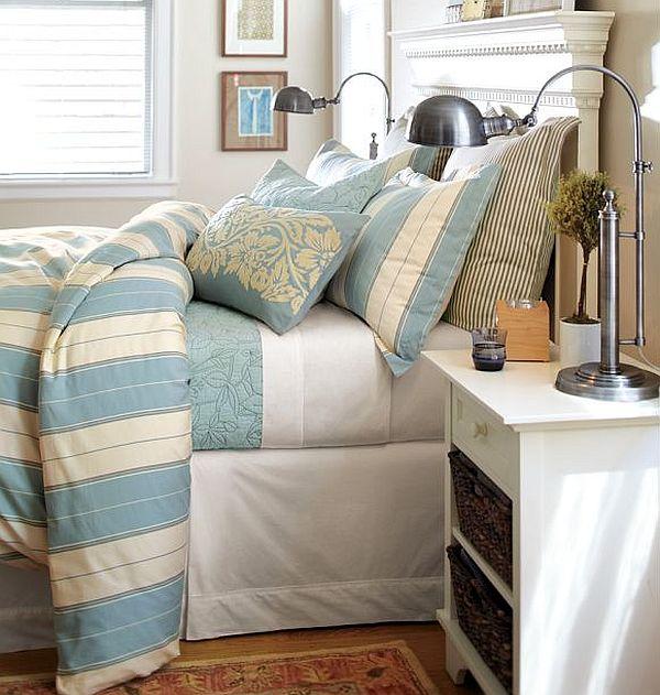 Toby Stripe Organic Duvet Cover & Sham blue
