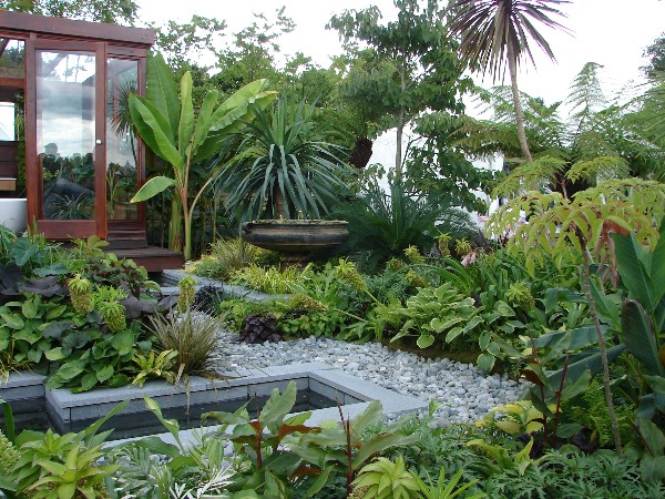 Tropical garden decoist for Jungle garden design ideas