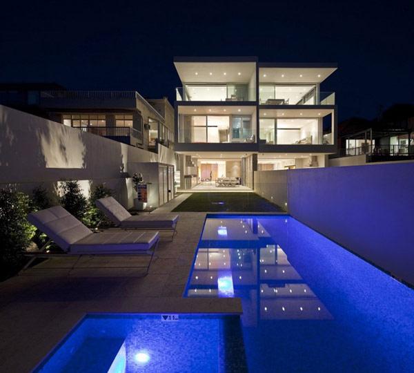 Twin Modern Homes back yard pool