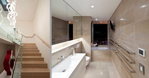 Twin Modern Homes stairs and bathroom