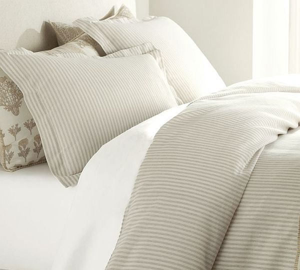 Vintage Ticking Stripe Duvet Cover Sham Neutral Striped Duvet Covers & Shams For a Fancy Bedroom