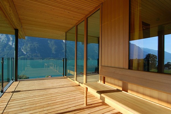 Wohnhaus Am Walensee Swiss House with wooden deck and lake views